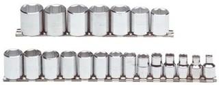 3/8的六角短套筒 公制套筒组,3/8 in。Dr,21 pc