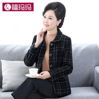 妈妈外套女春秋短款40岁50岁套装中老年洋气2021小香风西装上衣 黑色(上衣+毛衣)165/88A(L )