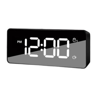 Hense 汉时 多功能充电闹钟学生静音床头钟办公室台钟夜光时钟HA92黑色