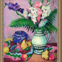 潘玉良《菖莆与水果》70x61cm装饰画 油画布