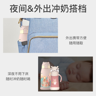 小土豆婴儿保温奶瓶正品不锈钢儿童大宝宝防摔防胀气夜奶水壶组合 太空灰+爱蕾蓝