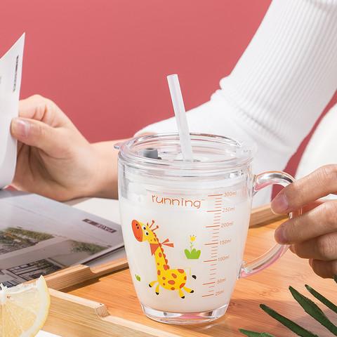 厨乐皇 儿童牛奶杯带刻度微波炉专用玻璃杯子家用宝宝冲泡奶粉早餐吸管杯 棒球龙杯?送