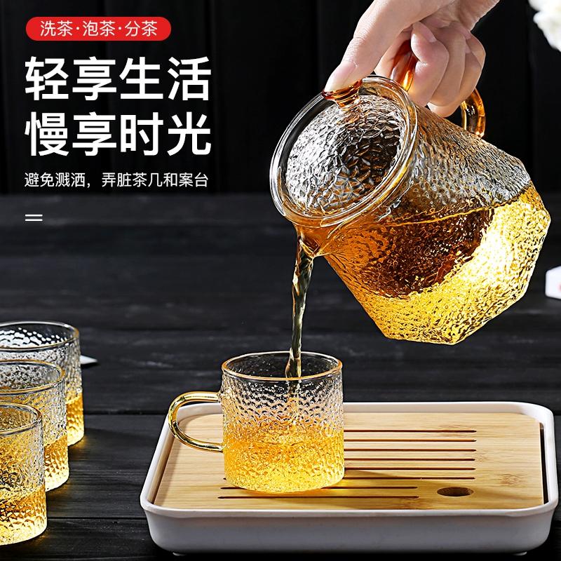 聚千义 玻璃茶壶过滤泡茶壶家用耐高温加厚锤纹花茶电陶炉煮茶器茶具套装 700ml菱形壶 2锤纹杯 托盘