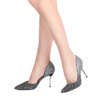 CHARLES & KEITH 女士亮片高跟鞋 CK1-60580071 黑呖色 36