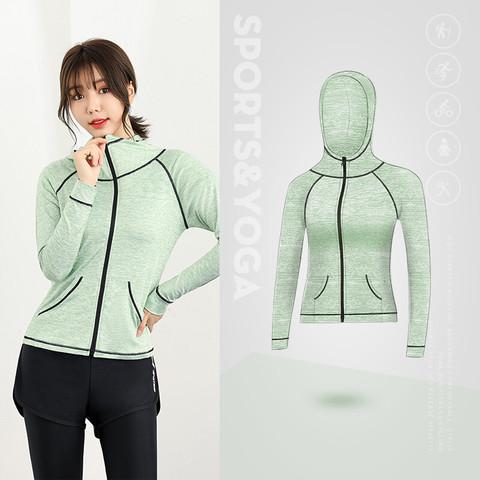豪客虎2021新款春季健身服长袖运动跑步服女士休闲拉链大码弹力外套 精灵绿 S