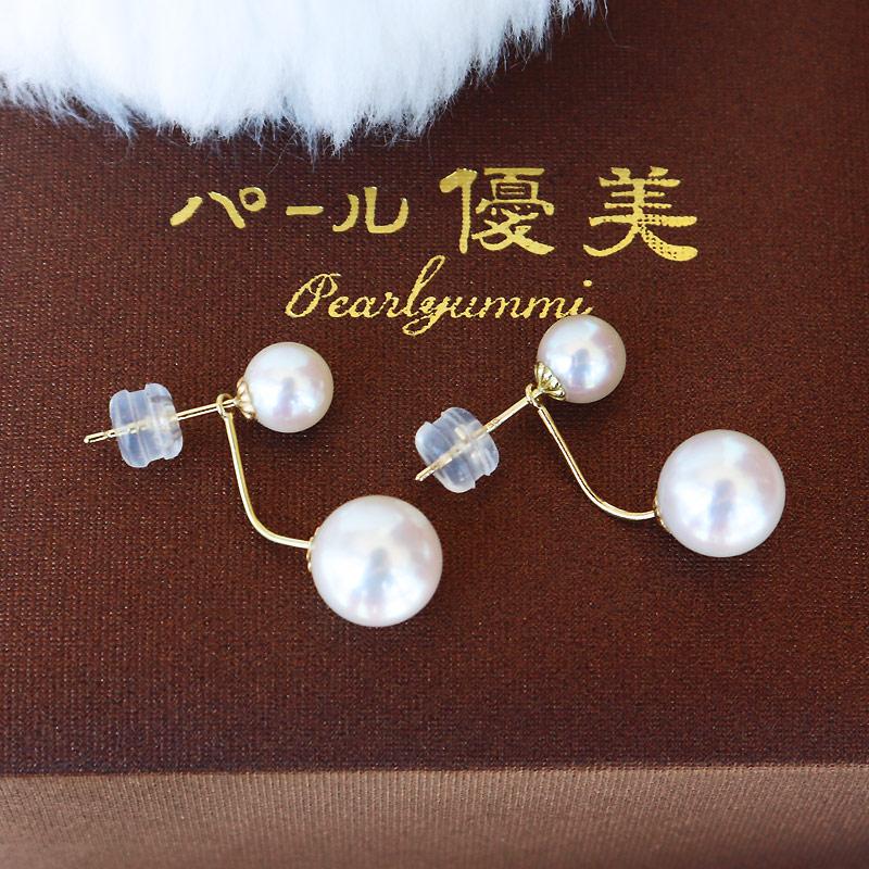 PearlYuumi 優美珍珠 Akoya海水珍珠双珠耳环