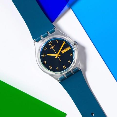 Swatch斯沃琪瑞士手表蓝色远方指针式运动防水男女石英表GE721