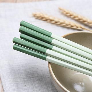 Suncha 双枪 dk7003 稻谷壳筷子 10双 绿拼色