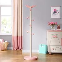 林氏木业 EA1G 儿童衣帽置物架 粉白色