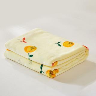 梦洁家纺出品可水洗双面毛毯 超柔午睡空调毯子 双人加大空调毯多功能毯子 甜甜蜜柚 70*100cm(净重190g)