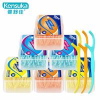 健舒佳 牙線棒 順滑潔齒高分子圓線50支x6盒(多彩裝)清潔齒縫超細牙線剔牙簽