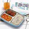 佳佰.ZF 304不锈钢饭盒便当餐盘分格小学生带盖韩国食堂简约儿童防烫 透明蓝色-三格饭盒