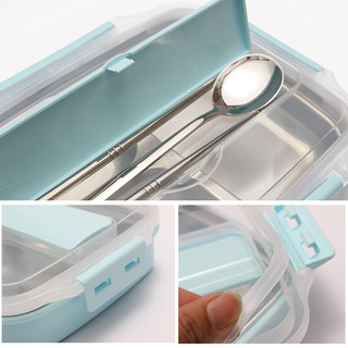 佳佰 饭盒 1100ml 透明蓝色