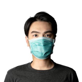 博锐 医用外科口罩 成人 松紧 无菌三层熔喷布过滤层口罩防飞沫防细菌一次性医用口罩 豆青色 10只装 耳挂