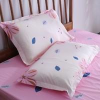全棉清新时尚双只装田园花卉印花枕套一对装枕头套纯棉枕巾枕套
