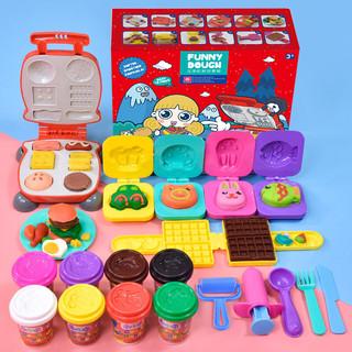 彩泥12色儿童3D橡皮泥汉堡机安全太空超轻粘土男女孩玩具套装 1个汉堡机+8色56g彩泥+1个华夫饼+4个饭团模