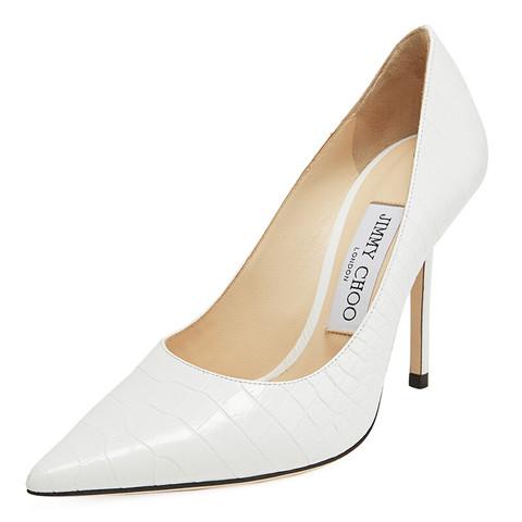 JIMMY CHOO 周仰杰 女士LOVE 100系列白色牛皮尖头浅口高跟鞋 LOVE 100 CCL 194 LATTE 37
