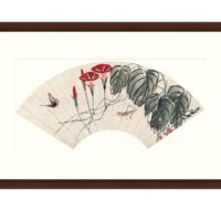 雅昌  齐白石 《蟋蟀蝴蝶扇》 79×50cm 装饰画 宣纸