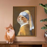 上品印画 萌宠入油画 宠物定制画像猫狗肖像画手绘装饰画创意礼物