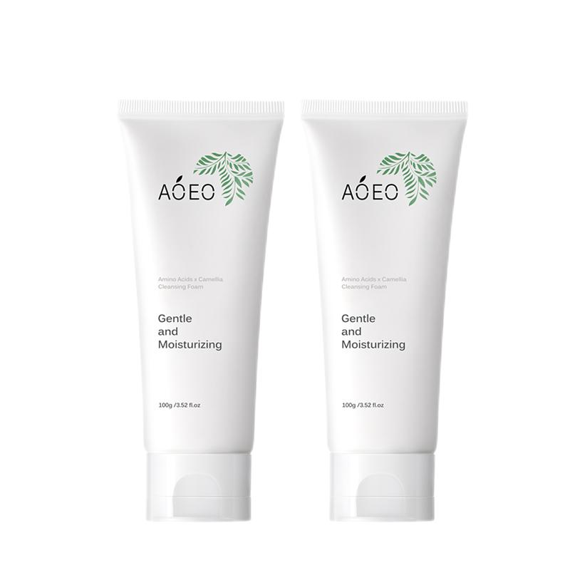 AOEO 山茶花洁面乳氨基酸洗面奶100g*2(深层清洁毛孔温和控油敏感肌护肤品男女士 )