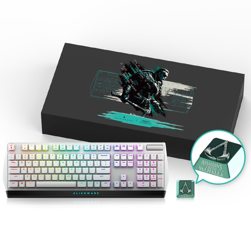 Alienware 外星人 AW510K 游戏键盘 X 刺客信条联名礼盒 含定制键帽(白色键盘)
