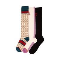 DAPU 大朴 女士棉质甜美及膝袜 3双装
