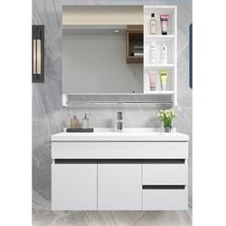 Uniler 联勒 简约卫浴柜镜柜套装组合 实木白 80厘米