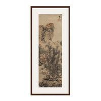蓝瑛《秋山渔隐图》中式古典风景国画 茶褐色 74×167cm 宣纸