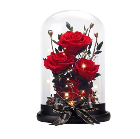 花逅  玻璃罩玫瑰永生花