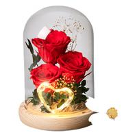 Ivenran 依雯然 玫瑰玻璃罩永生花 缘定三生款 3朵