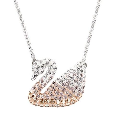 SWAROVSKI 施华洛世奇 ICONIC SWAN系列 5215034 女士仿水晶SWAN项链 镀白金色 38cm