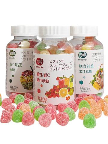 维生素C膳食纤维果蔬果汁软糖儿童橡皮糖混合多口味软糖238g奇峰
