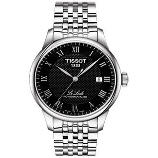 天梭力洛克男表 黑盘罗马数字刻度透底日历80机芯自动机械手表
