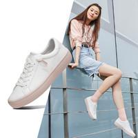 春季轻潮时尚假鞋带一脚蹬皮面小白鞋女休闲鞋板鞋