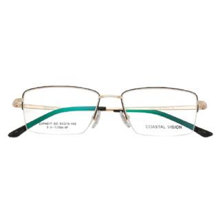 Coastal Vision 镜宴&essilor 依视路 CVF4017GD 金色钛金属眼镜框+钻晶A3系列 1.60折射率 非球面镜片
