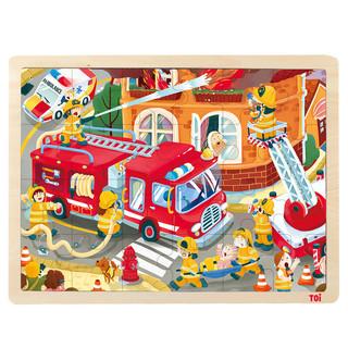 TOI 图益  儿童故事幼儿木质拼图玩具 消防车(24片)