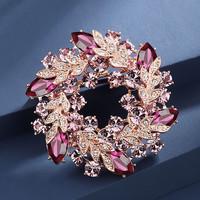 伊黛兒胸針高檔女奢華氣質采用水晶元素胸花西裝配飾大氣百搭別針 神秘紫色B002