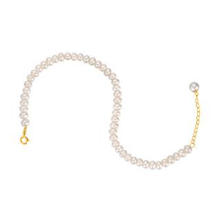 金一国囍 CID005 复古18K金珍珠手链 24cm