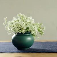 长物居 孔雀绿釉花囊 景德镇单色釉陶瓷陈设雅玩小花插花瓶