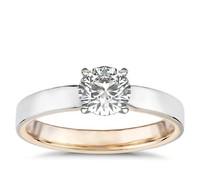 1.04 克拉雷迪恩明亮式钻石+ 抛光双色单石戒托
