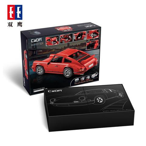 双鹰咔嗒积木电动玩具车模遥控跑车 布加迪488赛车