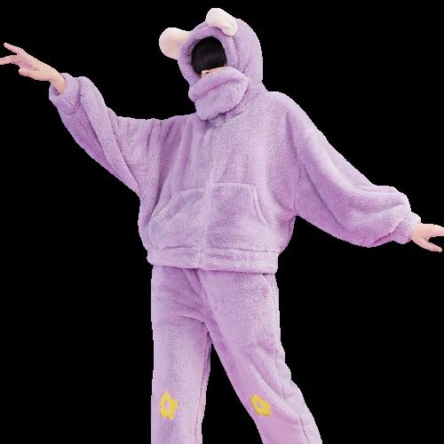 DAPU 大朴 熊系列 AE4F12216 女士连帽睡衣套装