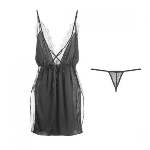 Langsha 浪莎 女士吊带睡裙套装  LAS20DG791170 2件套 黑色 160/84A