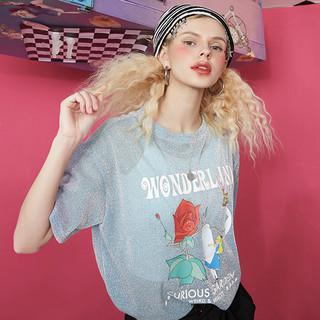 elf sack 妖精的口袋   爱丽丝合作款  短女士短袖t恤 11105060