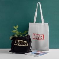 名创优品(MINISO) Marvel漫威系列帆布袋 限量 黑色漫威烫金购物袋 横向中号