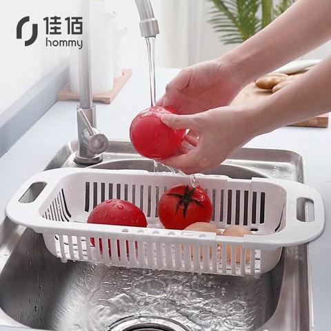 佳佰 厨房置物架可伸缩水槽沥水架沥水篮 水槽架 洗菜篮碗碟收纳架