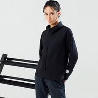 女士运动外套2021春款宽松大码舒适跑步吸汗透气连帽针织上衣