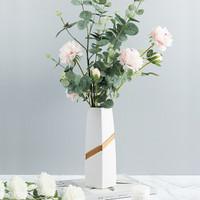 Hoatai Ceramic 华达泰陶瓷 华达泰 现代简约大号花瓶 (含1束尤加利 2束粉牡丹)