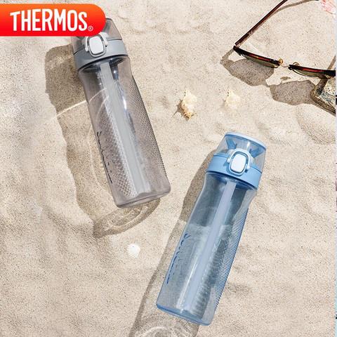 膳魔师 THERMOS 水杯700ML塑料便携吸管杯男女儿童随手杯太空杯子 Tritan材质 TCSF-700 GY