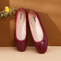 Bata拔佳女单鞋芭蕾舞鞋护士鞋新娘婚鞋妈妈鞋平底浅口鞋女鞋